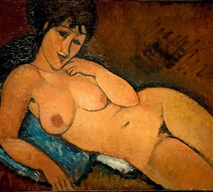 """Naked on a blue pillow"", Amedeo Modigliani – description of the painting"