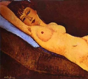 """Lying nude with a blue pillow"", Amedeo Modigliani – description of the painting"