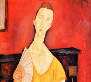 """Woman with a Fan (Lunia Chekhovskaya)"", Amedeo Modigliani – description of the painting"