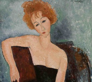"""Red-haired girl in an evening dress"", Amedeo Modigliani – description of the painting"