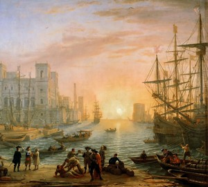 Port at sunset, Claude Lorren – description of the painting