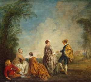 An embarrassing proposal, Antoine Watteau – description of the painting