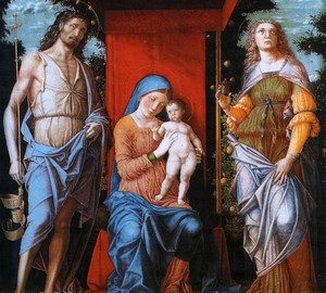 Madonna and Child with John the Baptist and Mary Magdalene, Andrea Mantegna