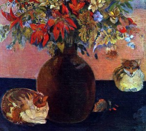 Flowers and cats, Paul Gauguin – description of the painting
