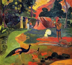Landscape with peacocks, Paul Gauguin – description of the painting
