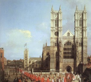 Westminster Abbey and the Knight Procession, Antonio Canaletto