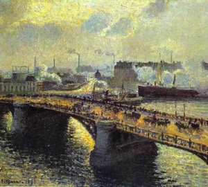 The bridge of Bualdieu in Rouen. Sunset. The Fog, Camille Pissarro, 1896