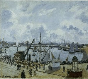 Outport in Le Havre. Promenade Su Amgon. A ship leaving the port – Pissarro, 1903