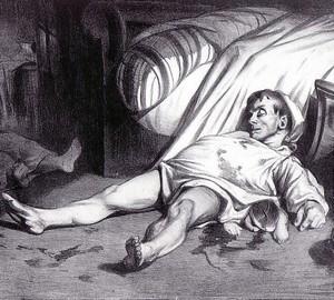 """""""Transnonen Street April 15, 1834"""", Honore Daumier – description"""