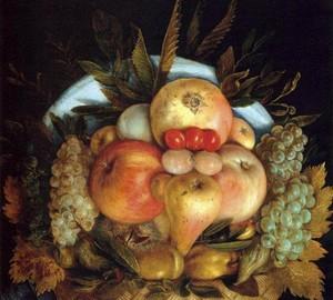 """Head and fruit basket"", Giuseppe Arcimboldo – description of the painting"
