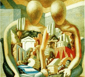 Archaeological cycle (Archaeologists and Archaeologist in the temple), de Chirico