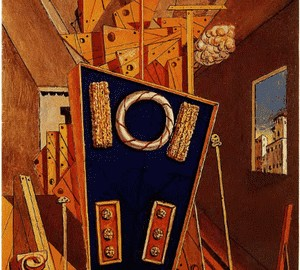 Metaphysical interior with cookies, de Chirico, 1968