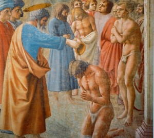 """Peter Baptism of the Neophytes"", Masaccio – description"